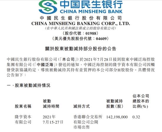 民生银行中国泛海因触发贷款协议约定被动减持公司1.42亿股